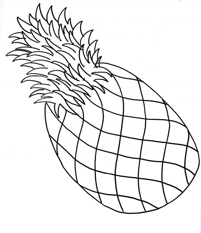 700x812 How To Draw A Pineapple Step By Step Drawing Tutorials Fruits