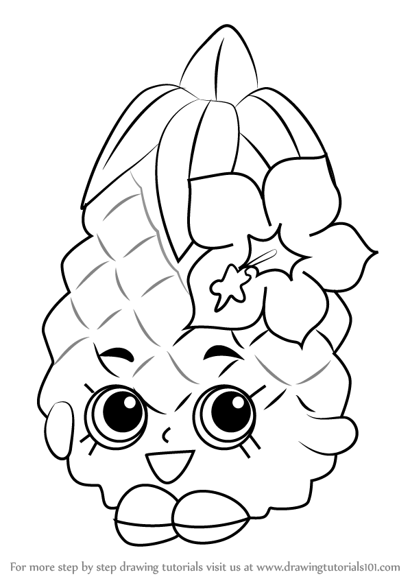 598x844 Learn How To Draw Pineapple Crush From Shopkins (Shopkins) Step By