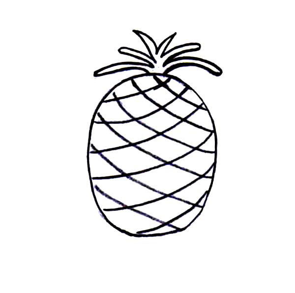 600x596 Simple Drawing Of Pineapple Coloring Page