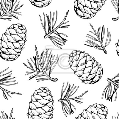 400x400 Pine Cones And Pine Branches Pattern Wedding Invitations