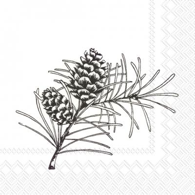 400x400 Cocktail Napkins Pine Branches White Black