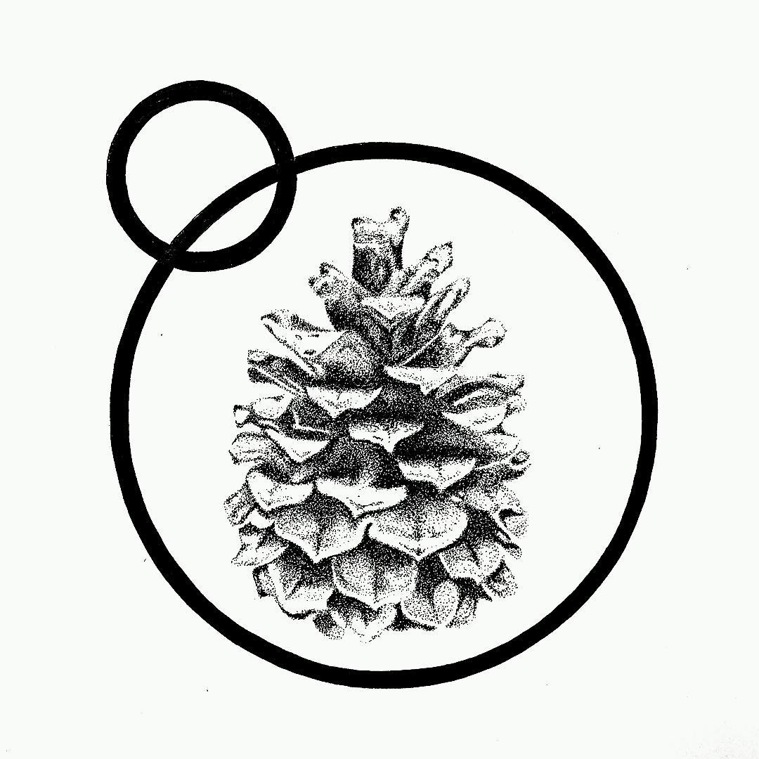 1080x1080 Tattoo Of Pine Cone In The Circle Dotwork, Circle, Geometry