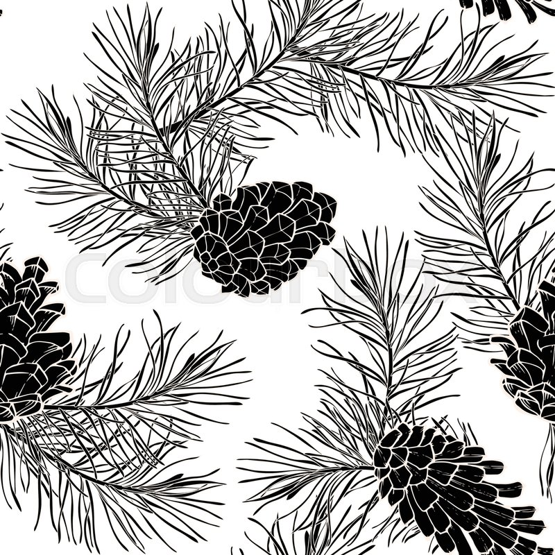 800x800 Hand Drawn Seamless Pattern With Pine Cones And Branches