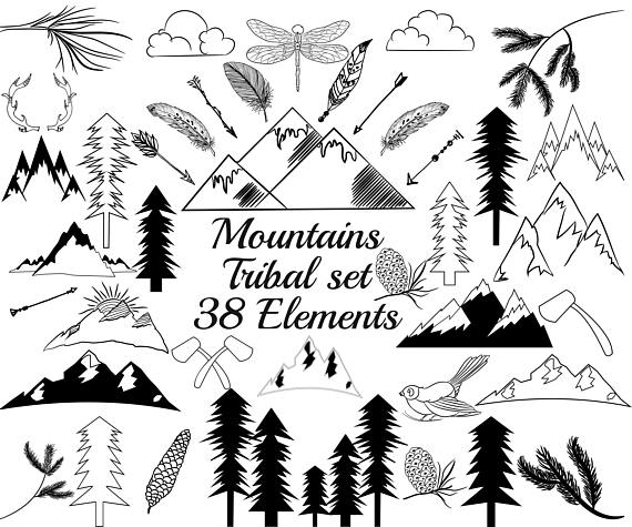 570x475 Tribal Clip Art Set,mountain Clipart,doodle Clipart,hand Drawn