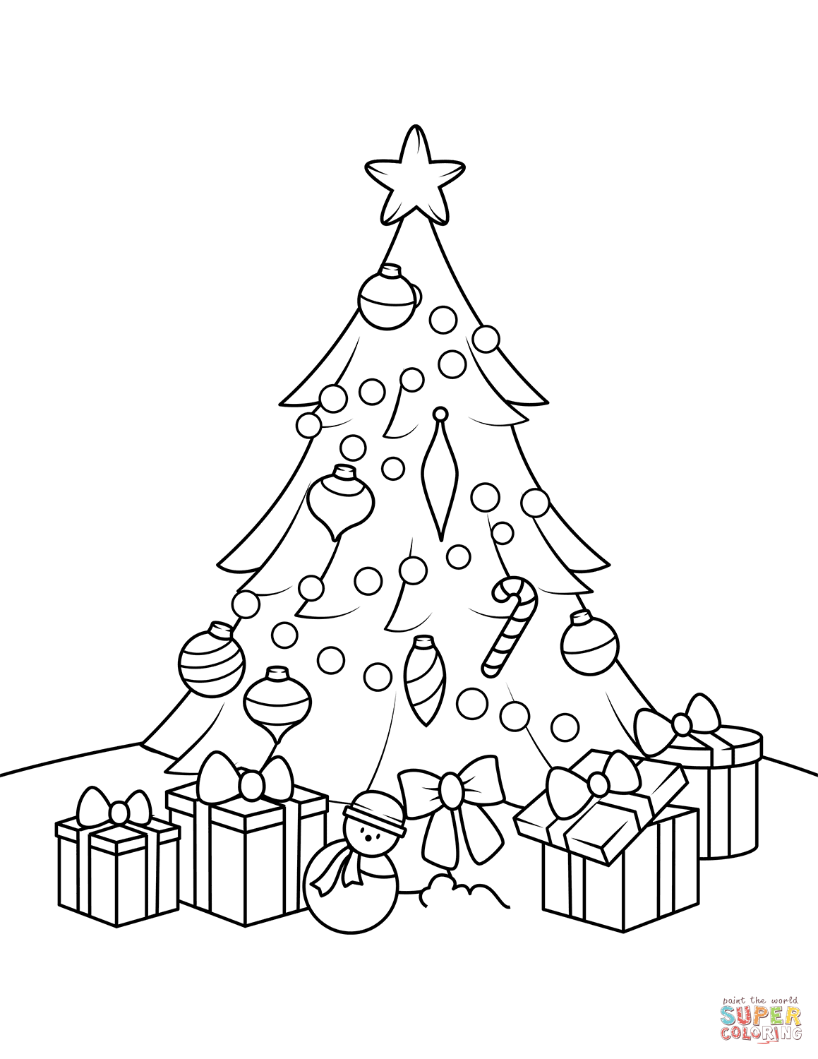 1159x1500 Christmas Tree With Presents Coloring Page Free Printable