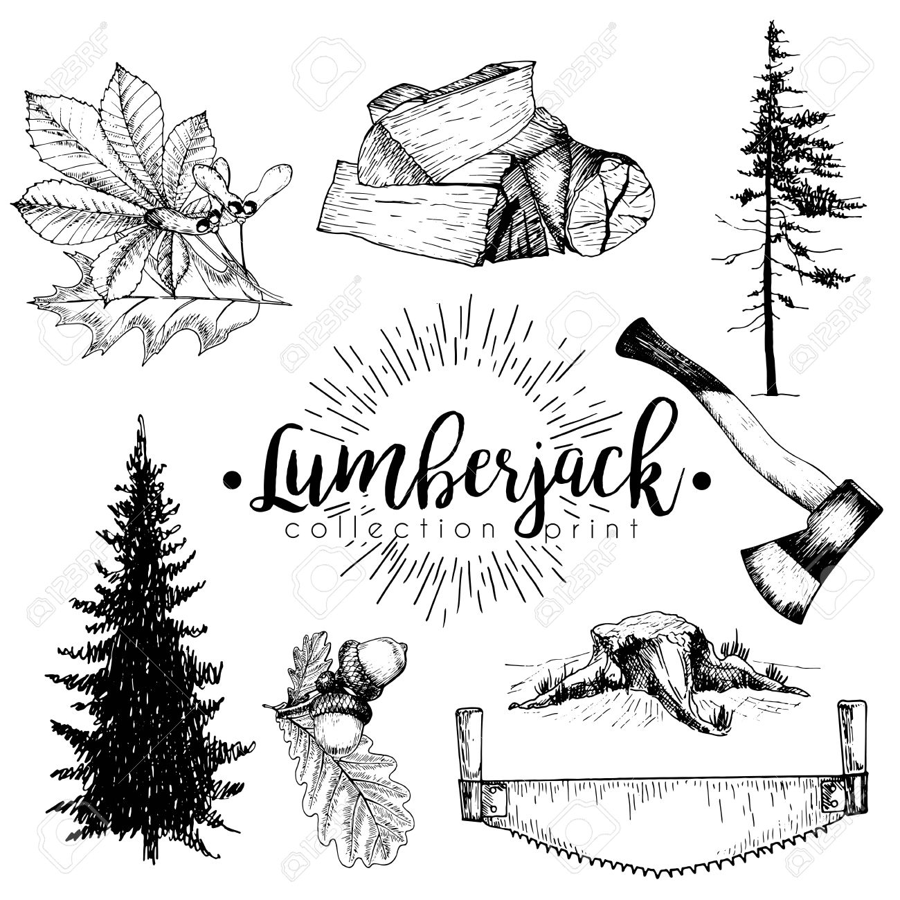 1300x1300 Vectro Set Of Timber Print Collection. Stamp, Axe, Pine Trees