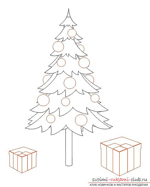 504x628 How To Draw A Christmas Tree With A Pencil, Step By Step Photos