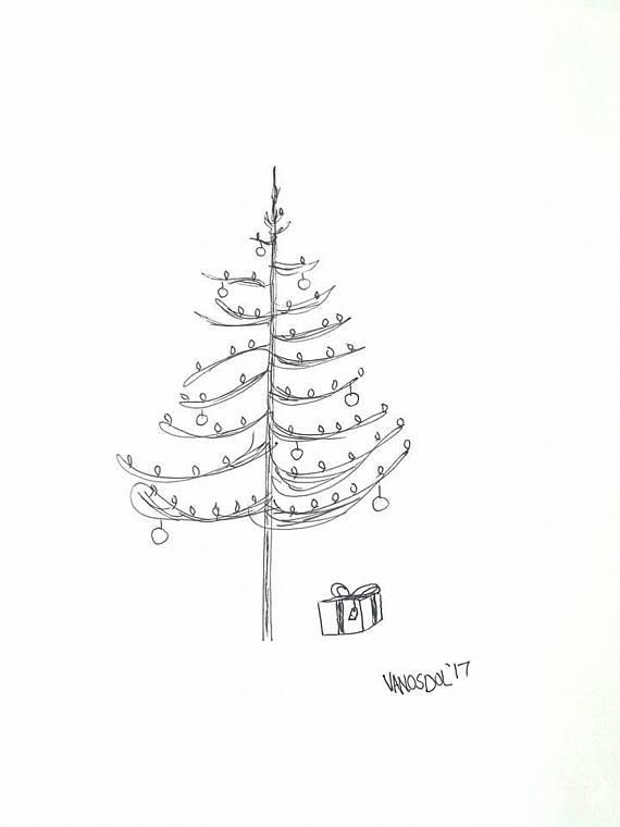 570x760 Original Christmas Tree Gel Pen Ink Sketch Art By Scott D Van