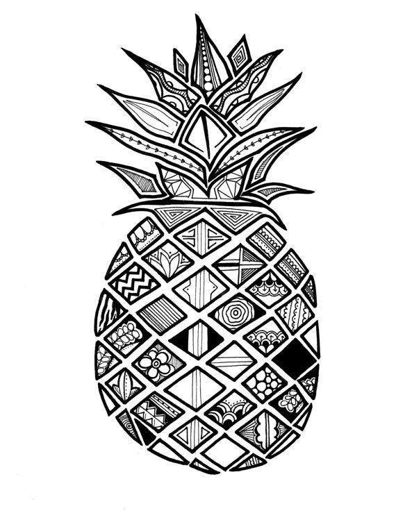570x739 Pineapple Jujube Print Drawingillustration By Huskido Studios