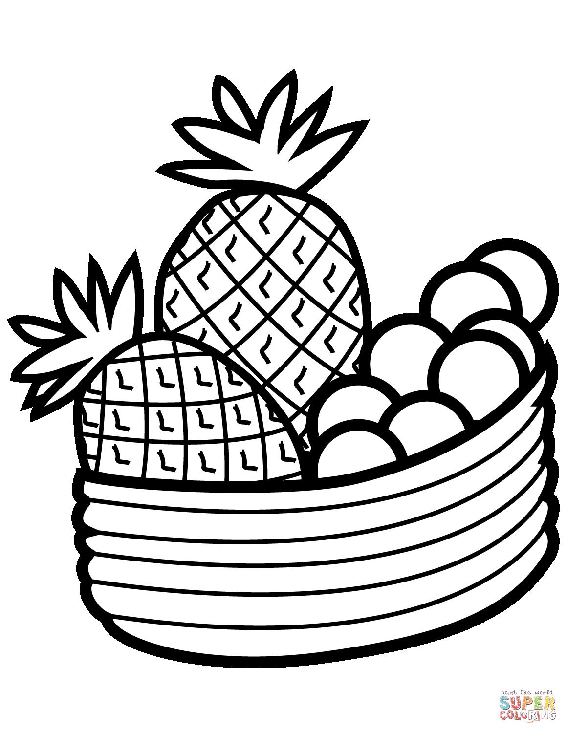 1160x1500 Pineapple And Cross Section Coloring Page Free Printable