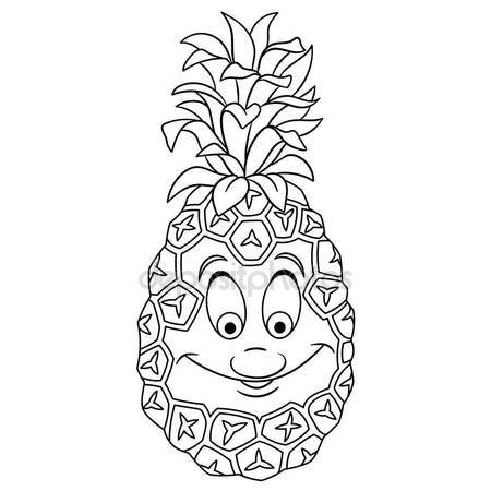 450x450 Coloring Book Page Cartoon Pineapple Character Happy