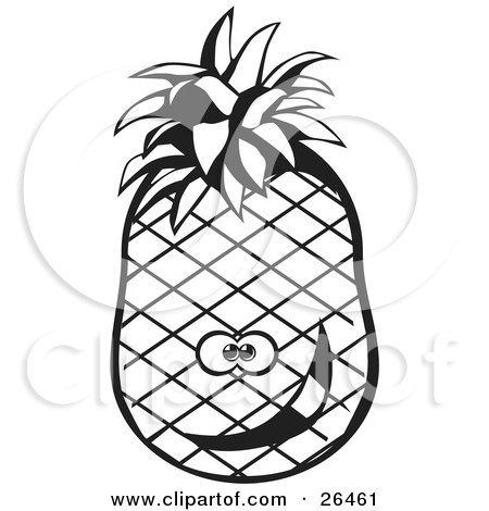 450x470 Clipart Illustration Of A Goofy Pineapple Character Smiling, Black
