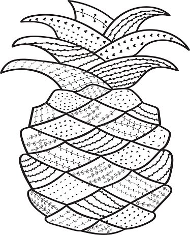 374x462 Pineapple Whimsical Line Coloring Book For Adult Premium Clipart