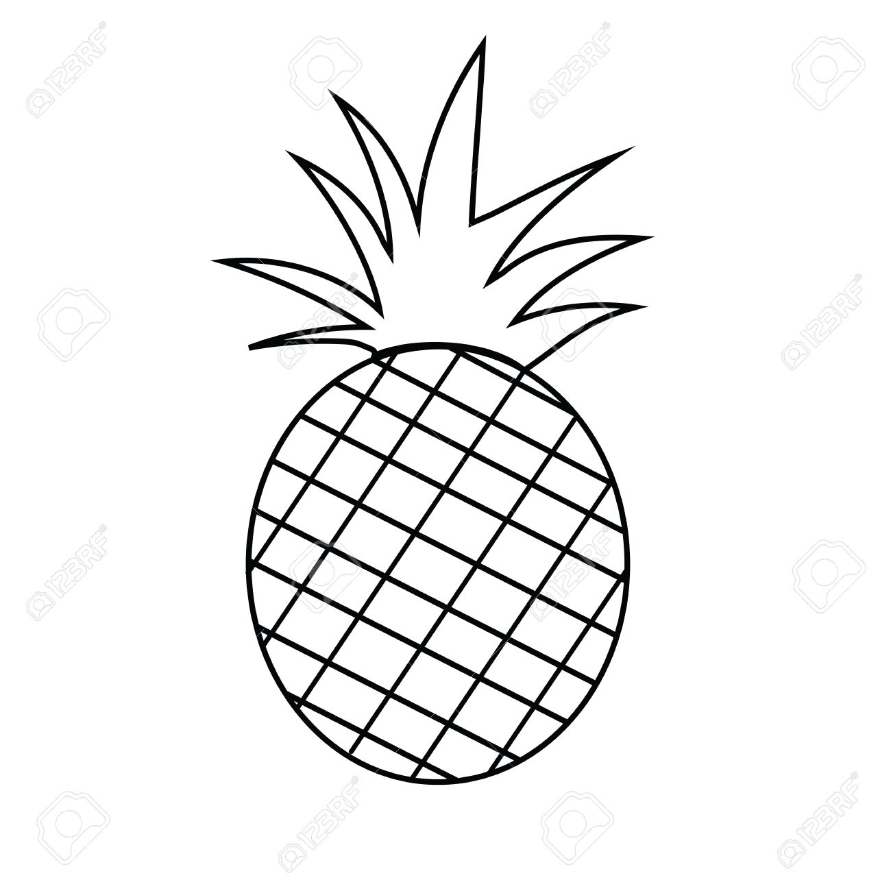 1300x1300 Pineapple Fruit Outline Version For Coloring Book Vector