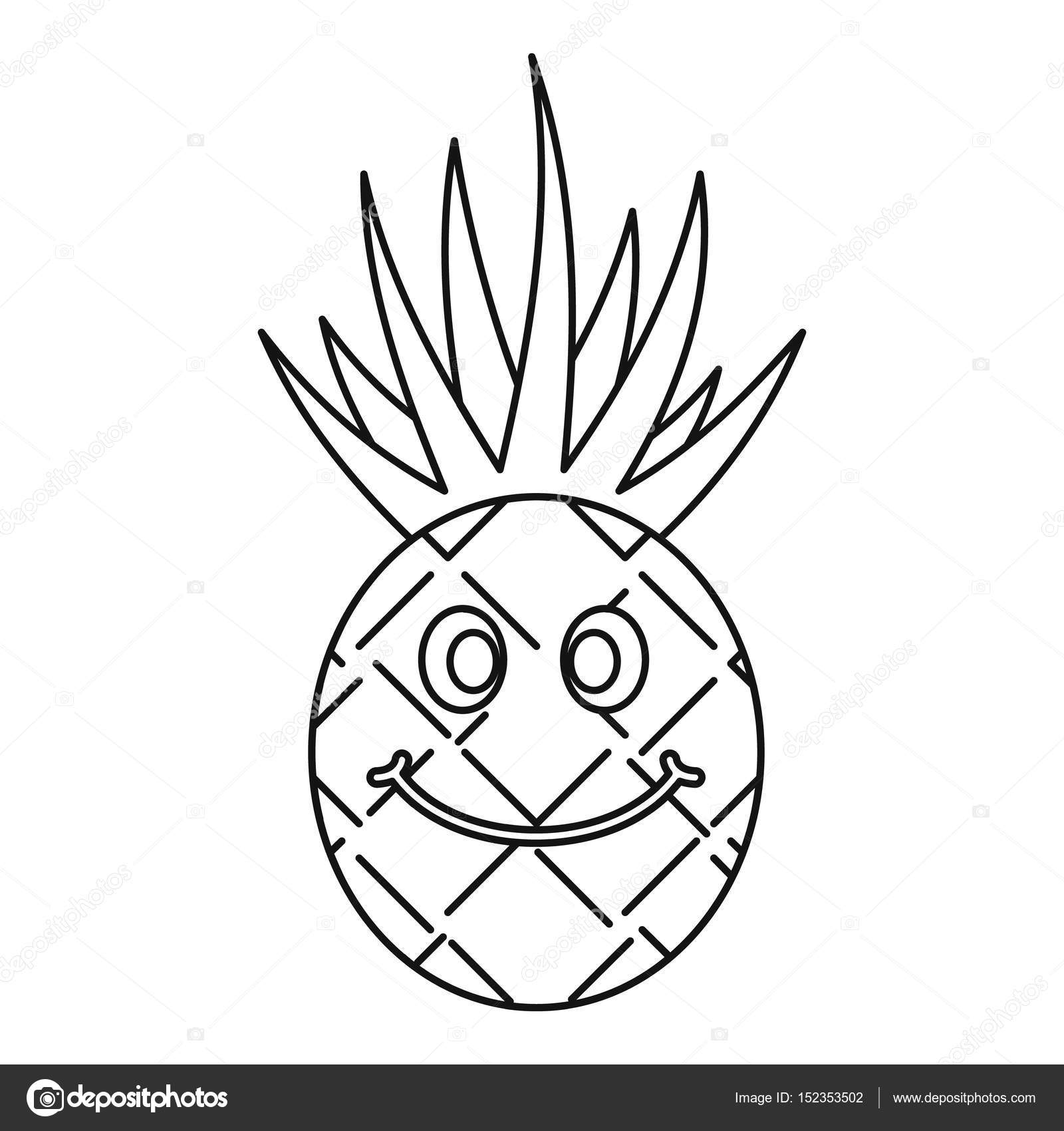 1600x1700 Smiling Pineapple Icon Outline Stock Vector Ylivdesign