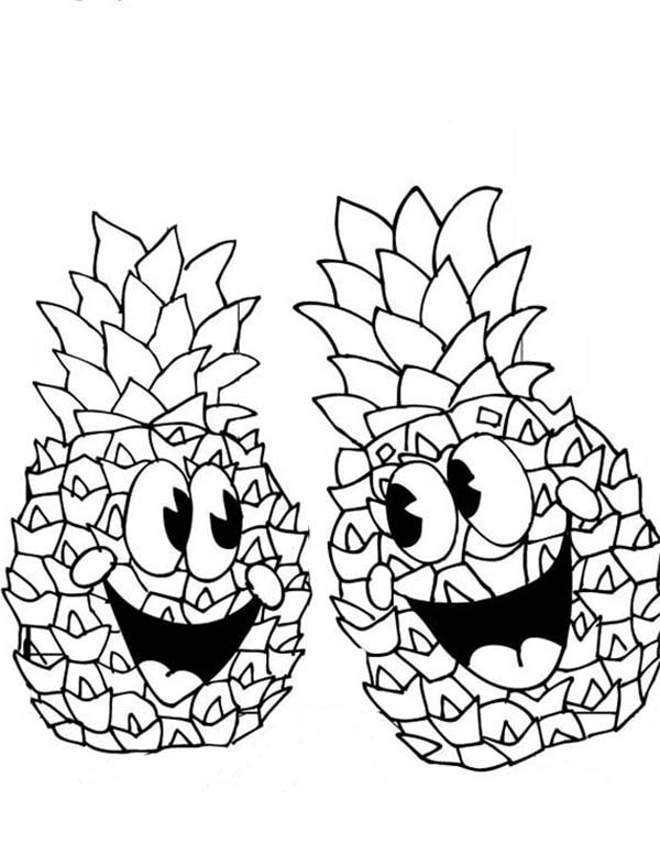 600x776 A Pair Of Happy Pineapple Coloring Page
