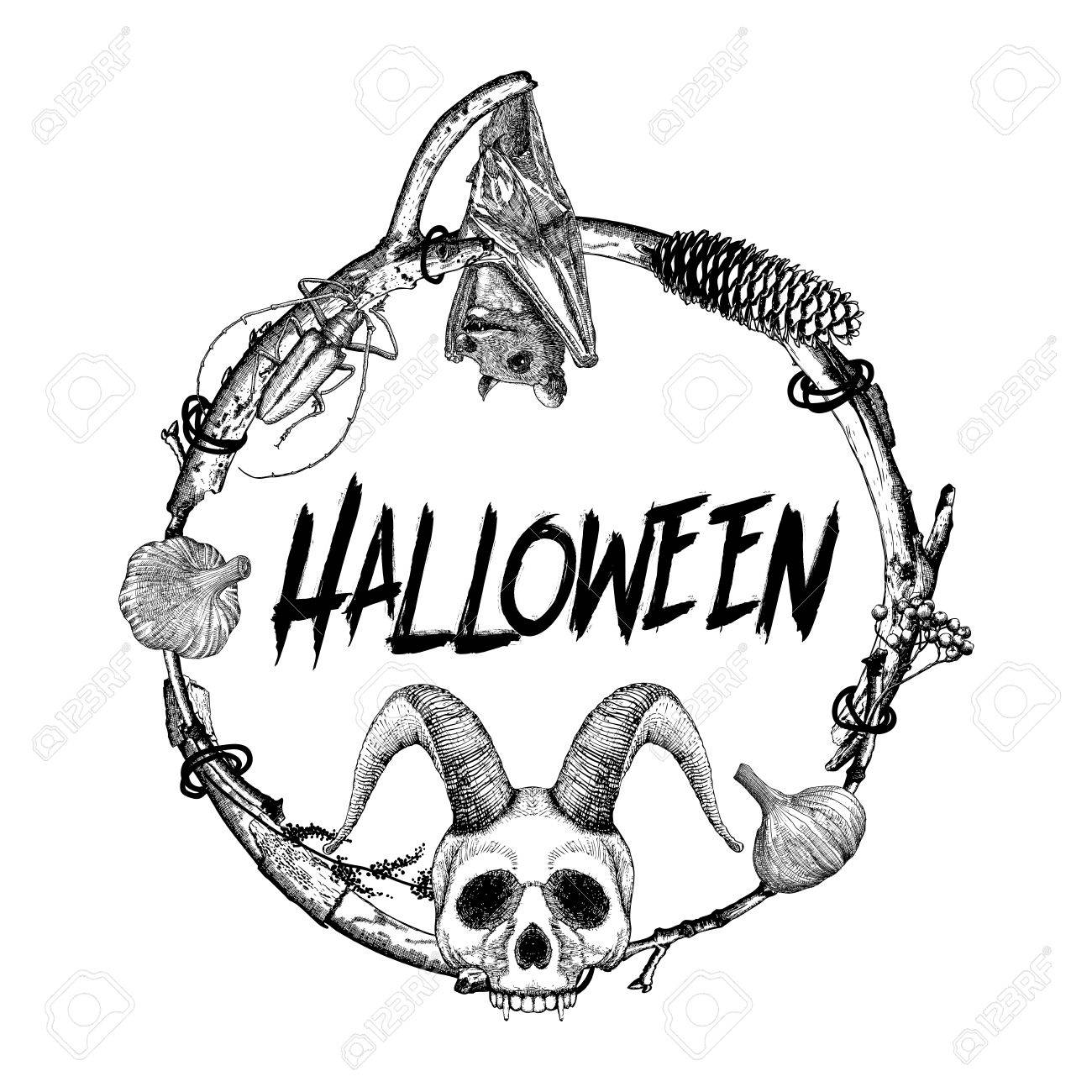 1300x1300 Halloween Sign And Poster. Halloween Decoration In Twig Frame