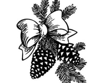 340x270 Pine Cone Large Unmounted Rubber Stamp Christmas Winter