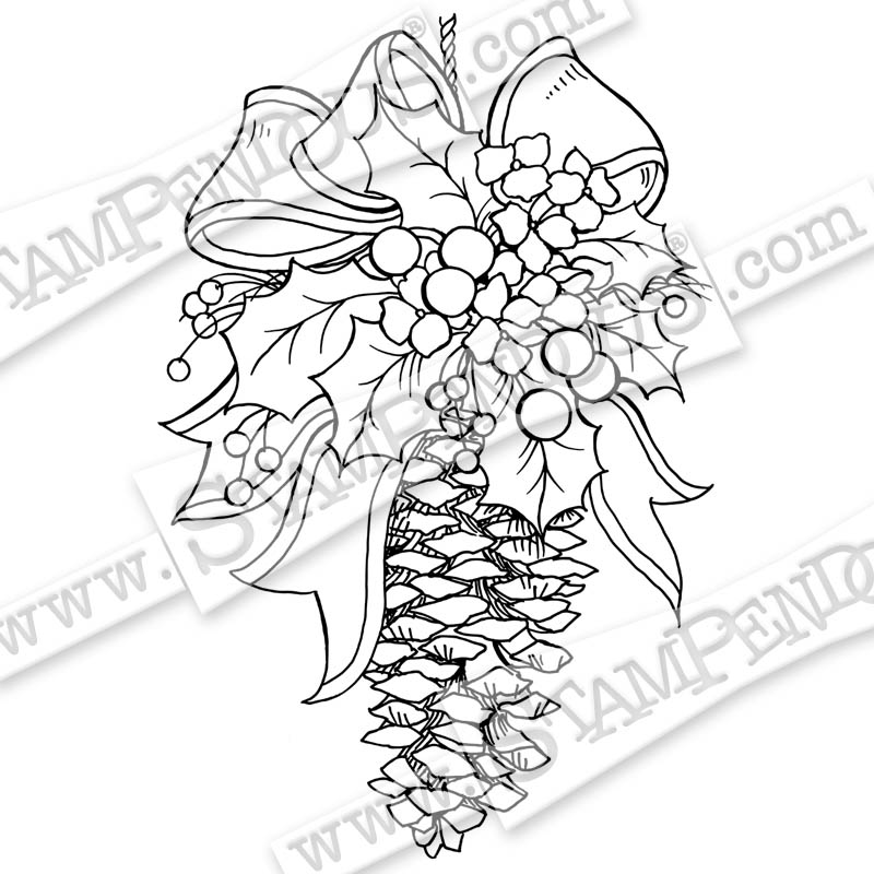800x800 Pinecone Decoration Rubber Stamp