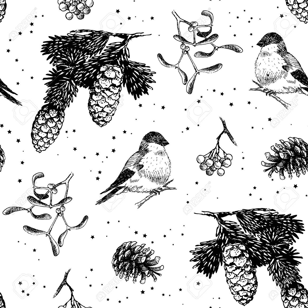 1300x1300 Christmas Pattern Seamless, Hand Drawing Sketch Illustration