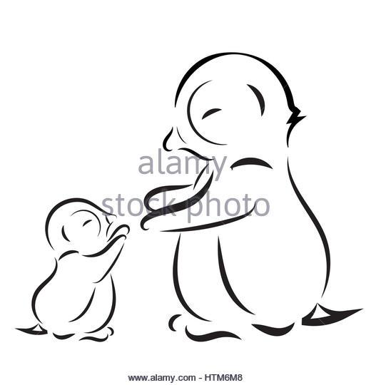 520x540 Black White Cartoon Drawing Penguin Stock Photos Amp Black White
