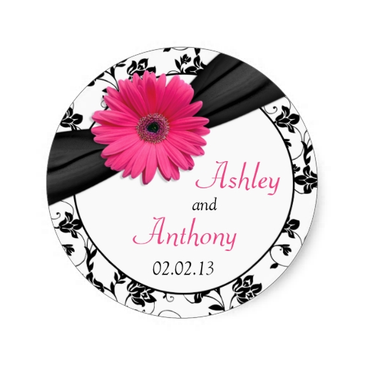 512x512 Pink Daisy Black White Floral Wedding Stickers Wedding Stickers