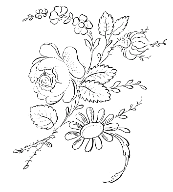 354x391 Pretty Little Drawing Of Several Flowers Including A Pink Rose