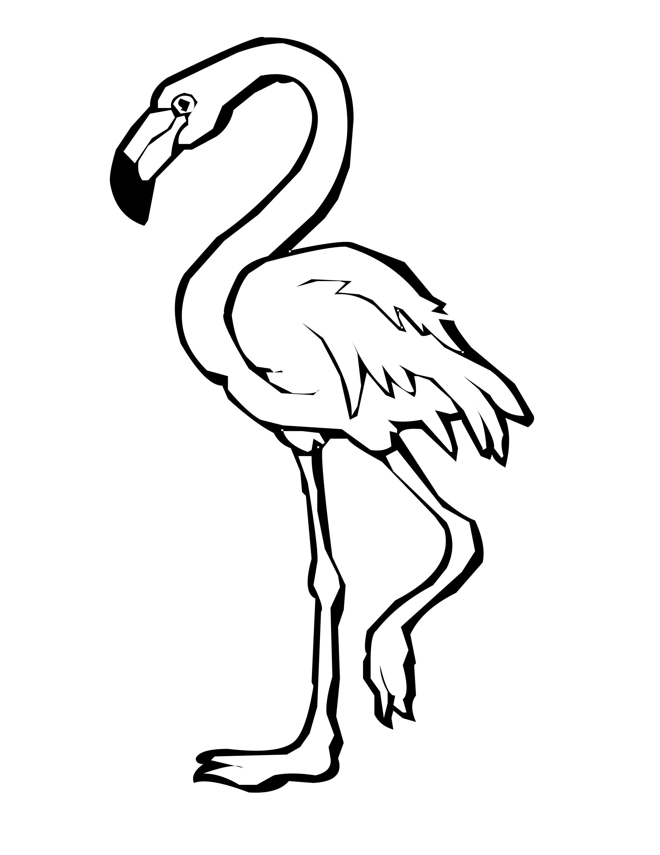 2550x3300 Cartoon Flamingo Coloring Page Pink Flamingo Coloring Page