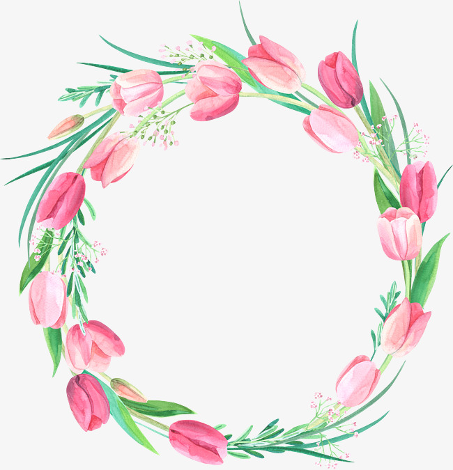 650x675 Decorative Wreaths, Pink Flowers, Wreath, Hand Painted Png Image