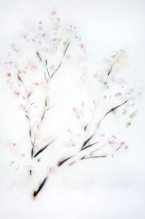 488x735 Flowering Branch Pastel Highlights, Calligraphy Ink And Chinese