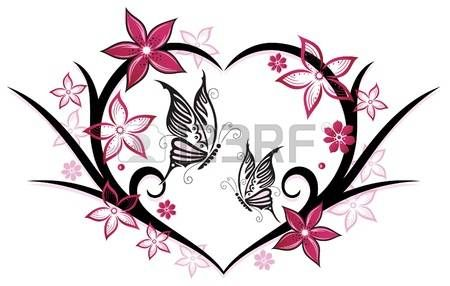 450x286 Heart With Butterflies And Flowers, Pink Photo Tattoos