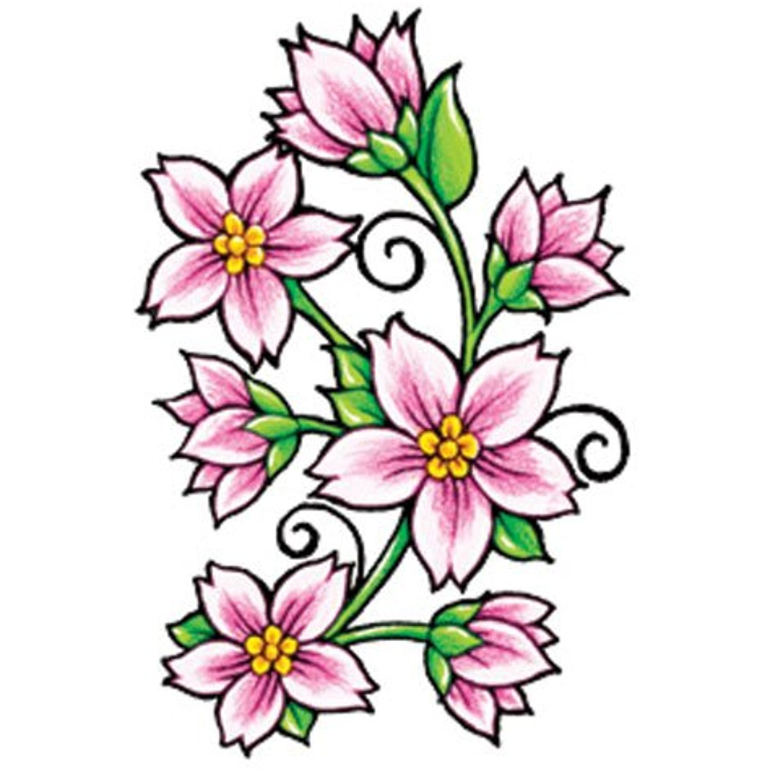 1500x1500 Pink Flowers Temporaray Tattoo Continue To The Product