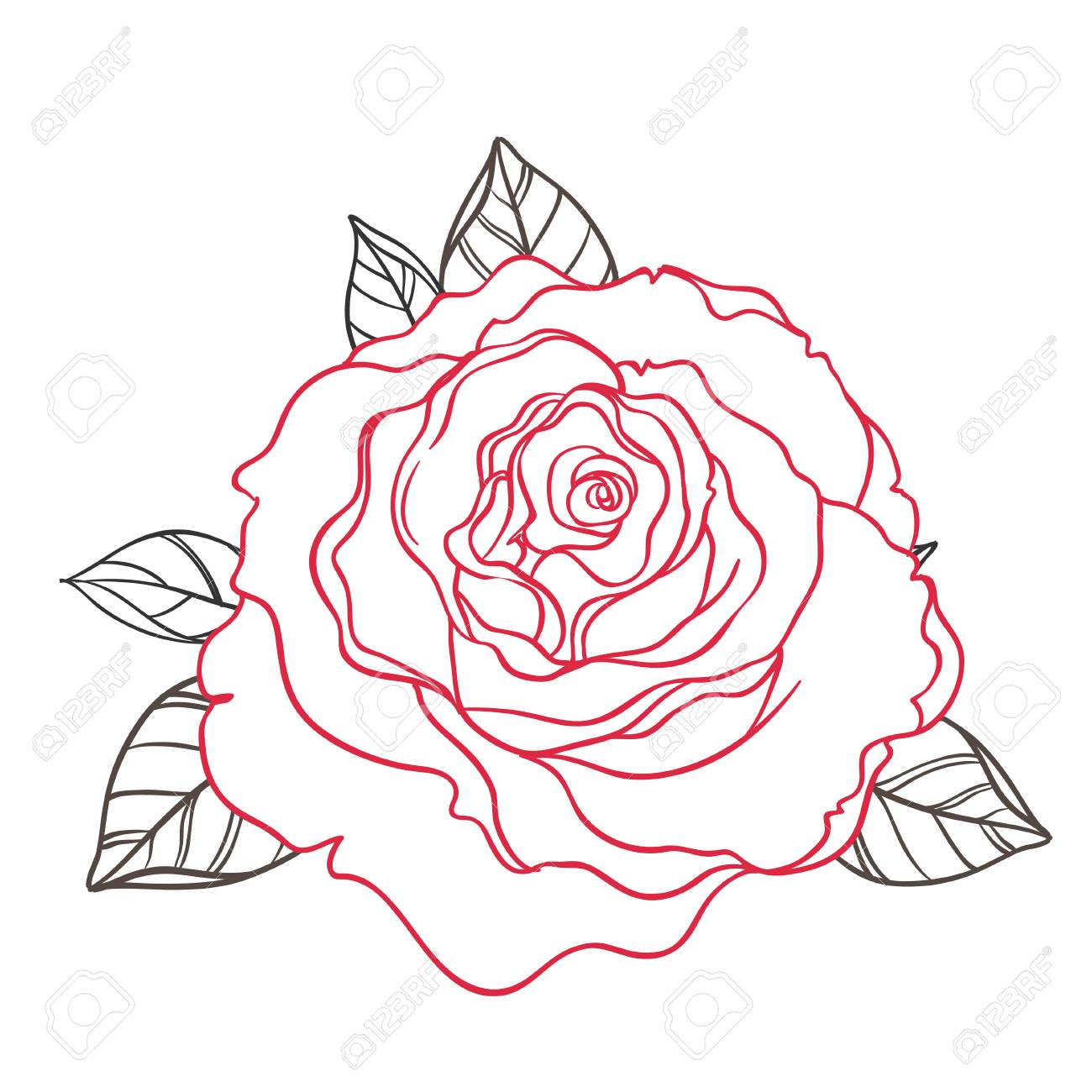 1300x1300 Black And White Tattoo Style Roses With Leaves Isolated On White