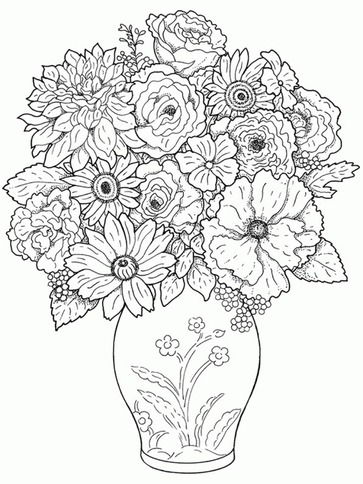 1200x1600 50 New Flower Vase Drawing