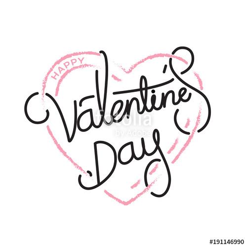500x500 Happy Valentine's Day Handwritten Text In Pink Heart Shape Stock