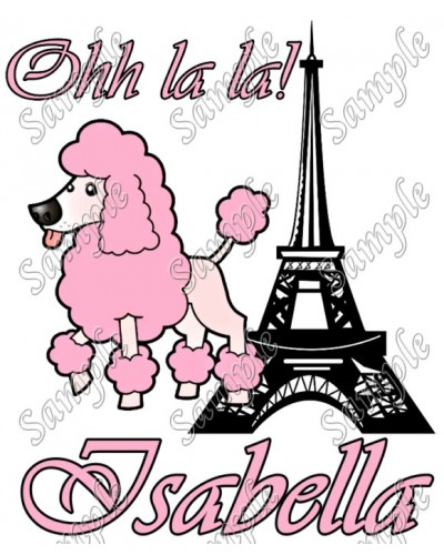 400x500 Personalized Iron On Transfers! Pink Poodle In Paris Personalized