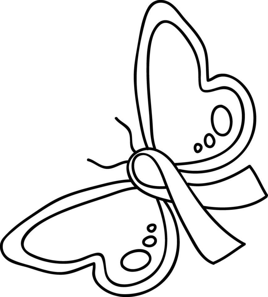 868x960 Pink Ribbon Coloring Page