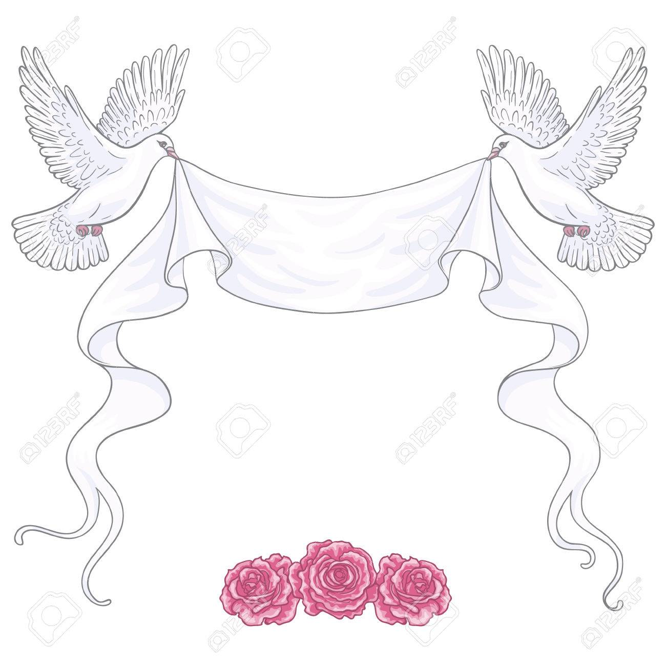 1300x1300 Hand Drawn White Flying Doves With Banner Ribbon And Pink Roses