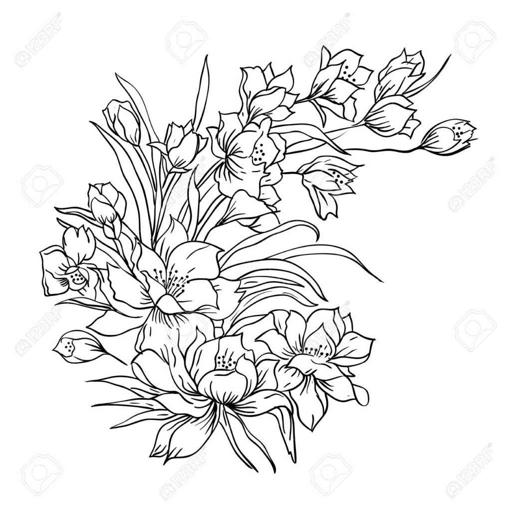 1024x1024 Rose Flower Bunch Sketch Images Bouquet Of Red And Pink Roses