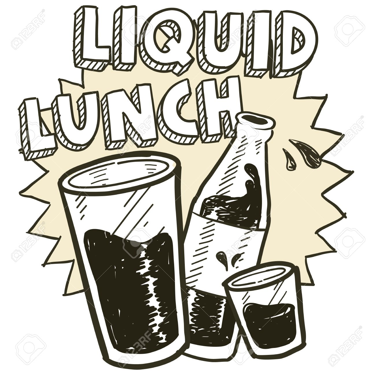 1300x1300 Doodle Style Liquid Lunch Alcohol Drinking Sketch In Vector Format