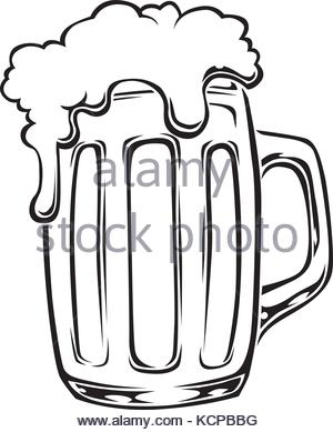 300x389 Stylized Vector Illustration Of Beer Glass In Black And White
