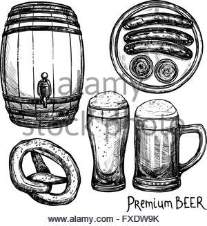 300x327 Beer Barrel Glass With Sausage Sketch Oktoberfest Festival Banner