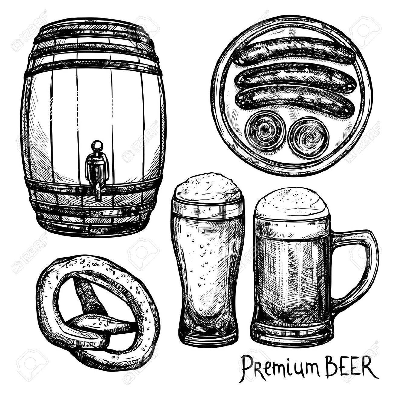 1300x1300 Beer In Pint And Keg With Sausage And Pretzel Sketch Decorative