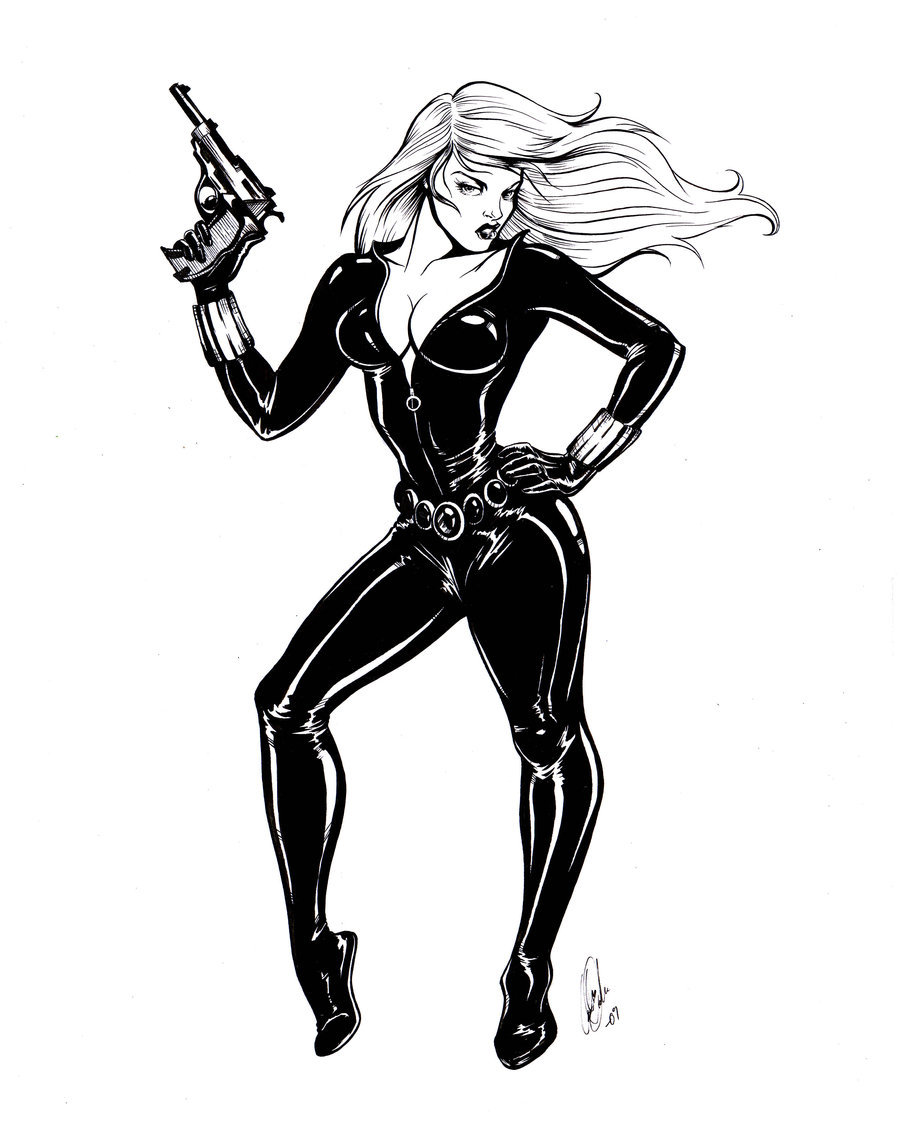 900x1145 Black Widow Pinup By Carliihde
