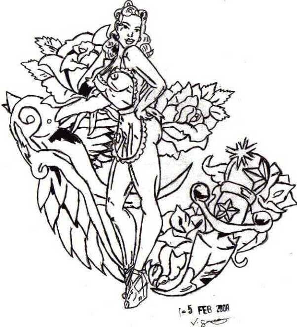 Pinup Girl Drawing at GetDrawings   Free download