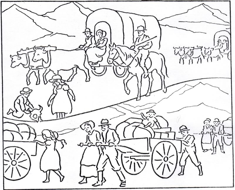 Pioneer Wagon Drawing