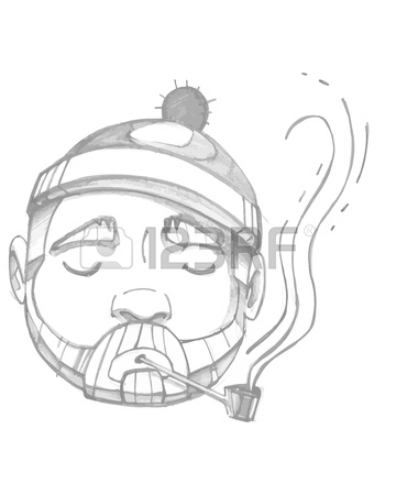 360x450 Hand Drawn Vector Illustration Or Drawing Of A Sailor Face Smoking