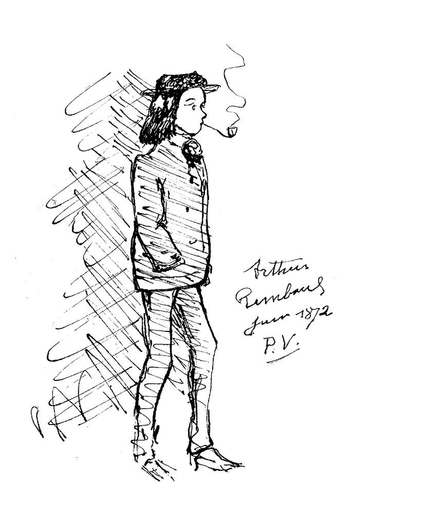 829x1024 Paul Verlaine, Arthur Rimbaud Fumant La Pipe. Dessin,