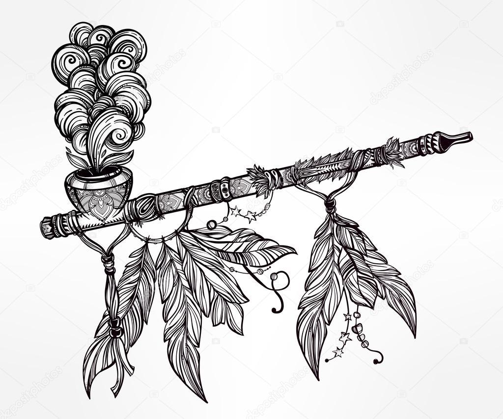 1024x853 Traditional Indian Smoking Pipe Of Peace. Stock Vector Katja87