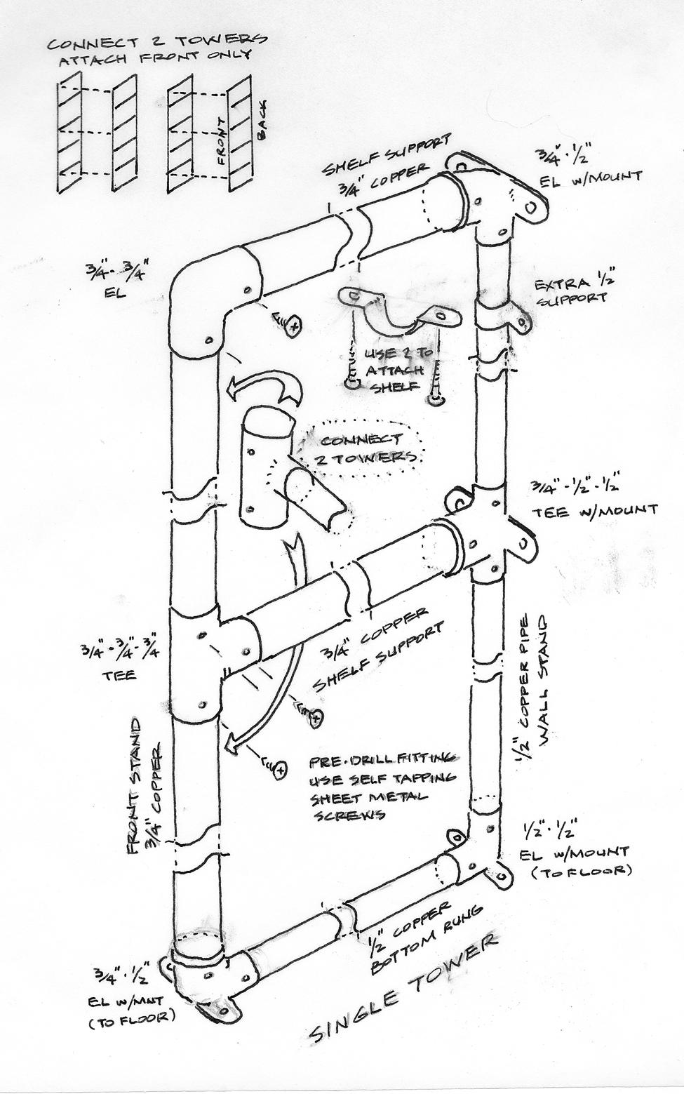 975x1559 Copper Pipe Shelf System Wildcat Man